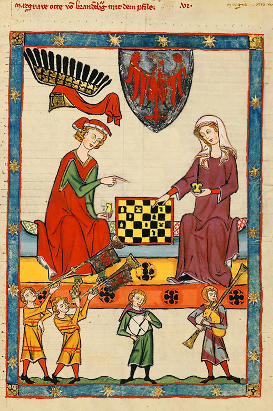 Rycerz idama grający wszachy Rycerz idama grający wszachy Źródło: Kodeks Manesse, około 1320 roku, miniatura, domena publiczna.