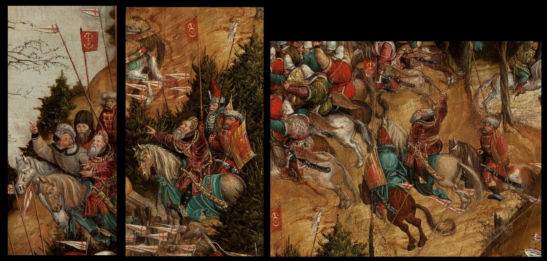 Bitwa pod Orszą - detal Artysta malujący obraz, chciał oddać dynamikę bitwy. Nie miał ku temu żadnych środków technicznych, więc próbował sobie radzić, wmontowując wwjedno przedstawienie bitwy różne jej etapy. Stąd na przykład, na obrazie widać aż trzy wyobrażenia księcia Konstantego Ostrogskiego,hetmana wielkiego litewskiego, dowodzącego oddziałami polsko-litewskimi. Na fragmencie po lewej widać go, gdy rozlokowuje wojska na początku starcia, na środkowym - gdy dowodzi ostrzałem artyleryjskim, apo prawej - gdy bierze osobiście udział wbitwie, ścigając uciekających nieprzyjaciół. Źródło: artysta nieznany, Bitwa pod Orszą - detal, między 1525-1540, tempera na dębowej desce, Muzeum Narodowe wWarszawie, domena publiczna.