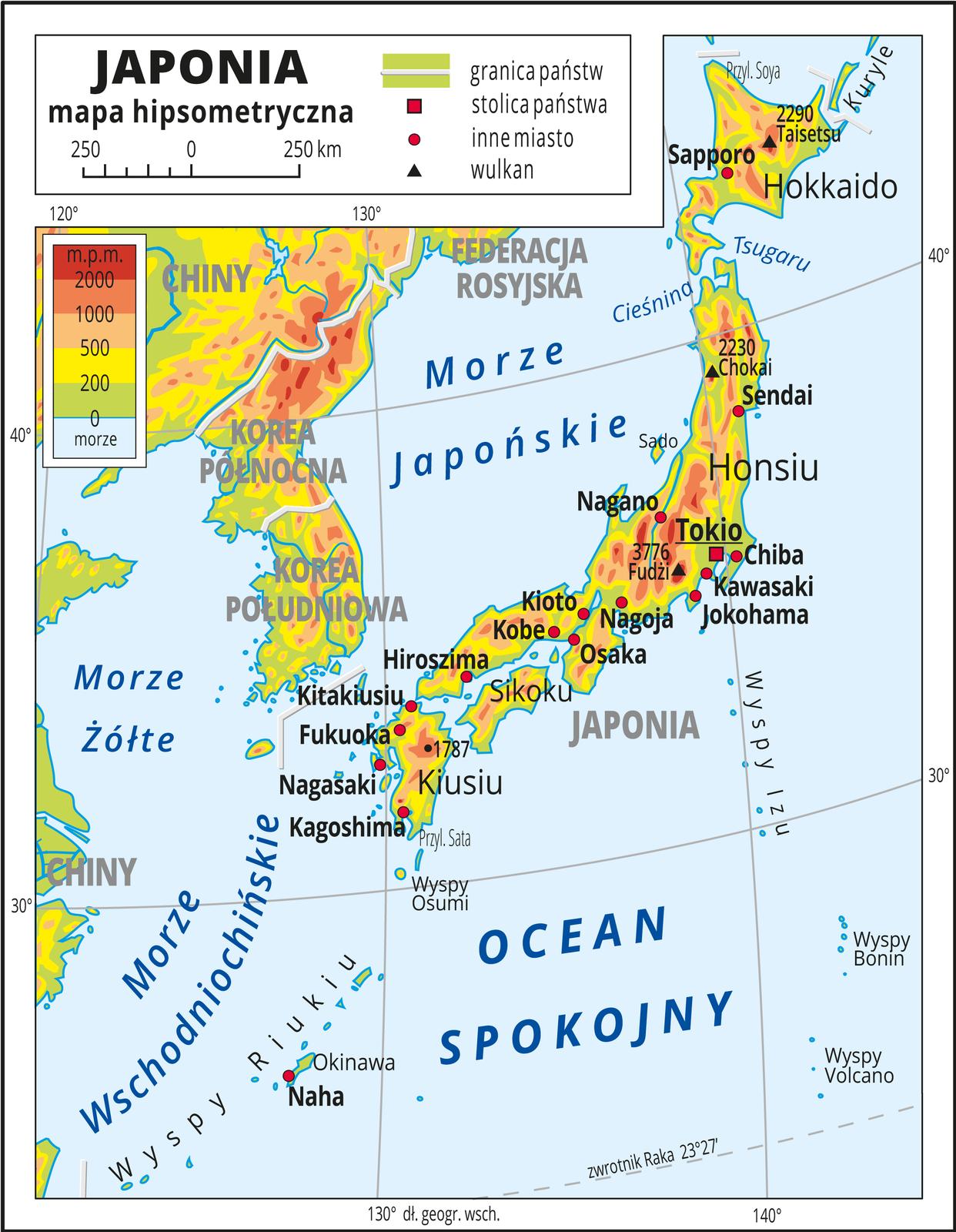 Ilustracja przedstawia mapę hipsometryczną Japonii. Wobrębie lądów występują obszary wkolorze zielonym, żółtym, pomarańczowym iczerwonym. Przeważają obszary wyżynne. Zaznaczono granice państw iopisano ich nazwy. Morza zaznaczono kolorem niebieskim iopisano. Oznaczono iopisano stolice igłówne miasta. Trójkątami oznaczono wulkany ipodano ich wysokości. Mapa pokryta jest równoleżnikami ipołudnikami. Dookoła mapy wbiałej ramce opisano współrzędne geograficzne co dziesięć stopni. Wlegendzie umieszczono iopisano znaki użyte na mapie.