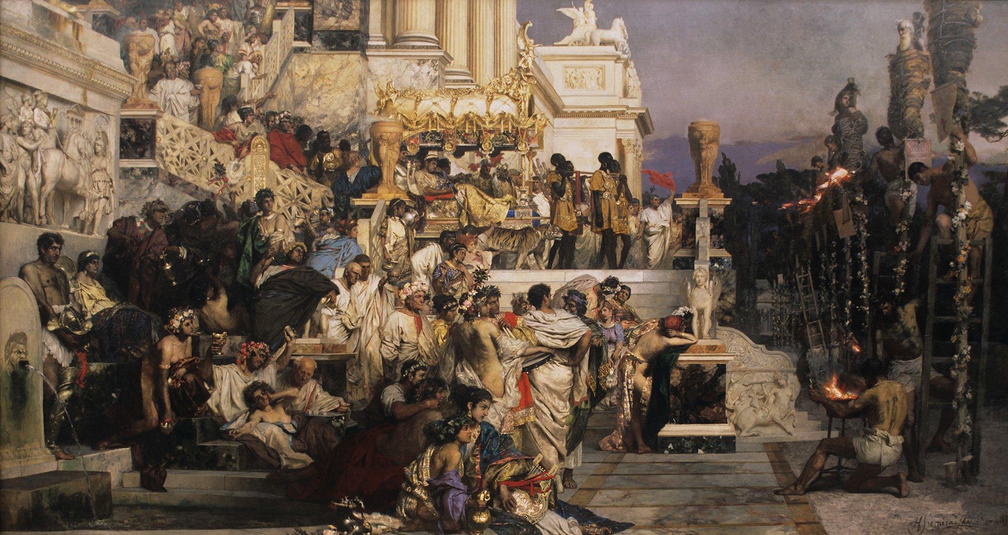 Pochodnie Nerona Źródło: Henryk Siemiradzki, Pochodnie Nerona, 1876, olej na płótnie, Muzeum Narodowe wKrakowie, domena publiczna.
