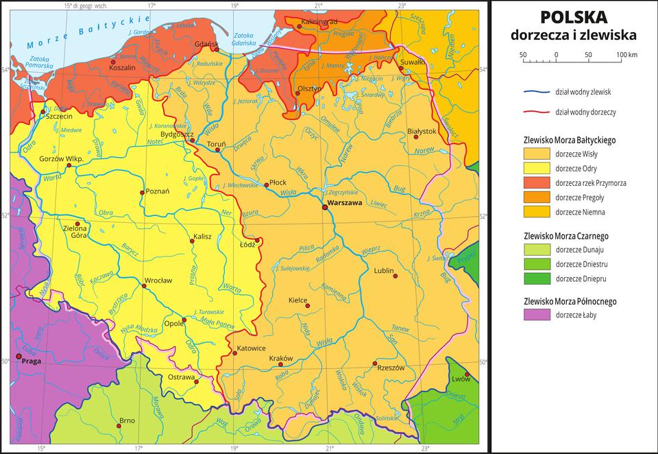 Zlewiska idorzecza na obszarze Polski