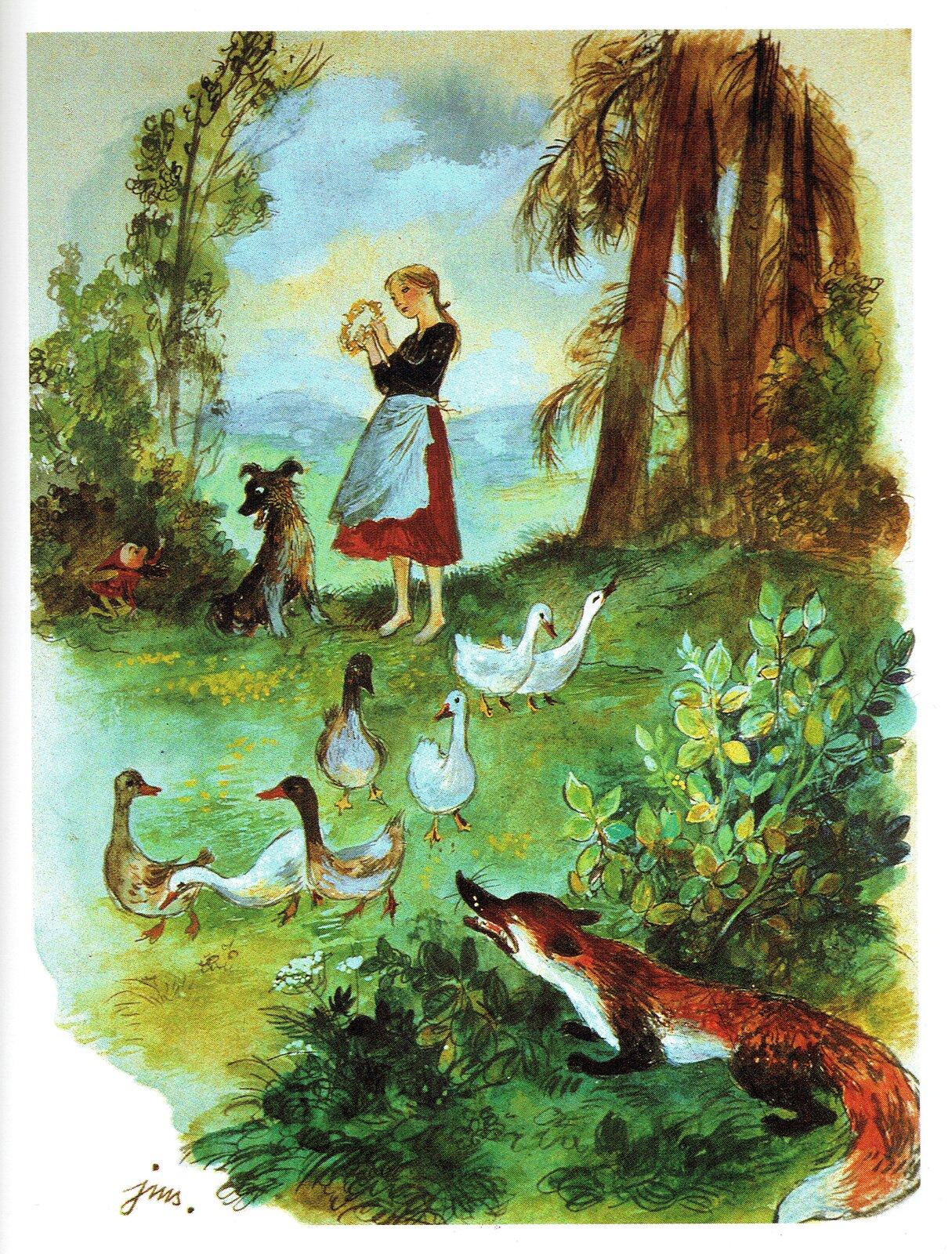 """Ilustracja przedstawia pracę Jana Marcina Szancera zksiążki Marii Konopnickiej """"O krasnoludkach isierotce Marysi. Ukazuje dziewczynę trzymającą wręku wianek, której towarzyszy pies. Obok, przy stawie pasą się gęsi. Zza krzaków wprawym, dolnym rogu czai się lis. Przez drzewa, między którymi stoi dziewczyna, przebija daleki widok zbłękitnym niebem."""