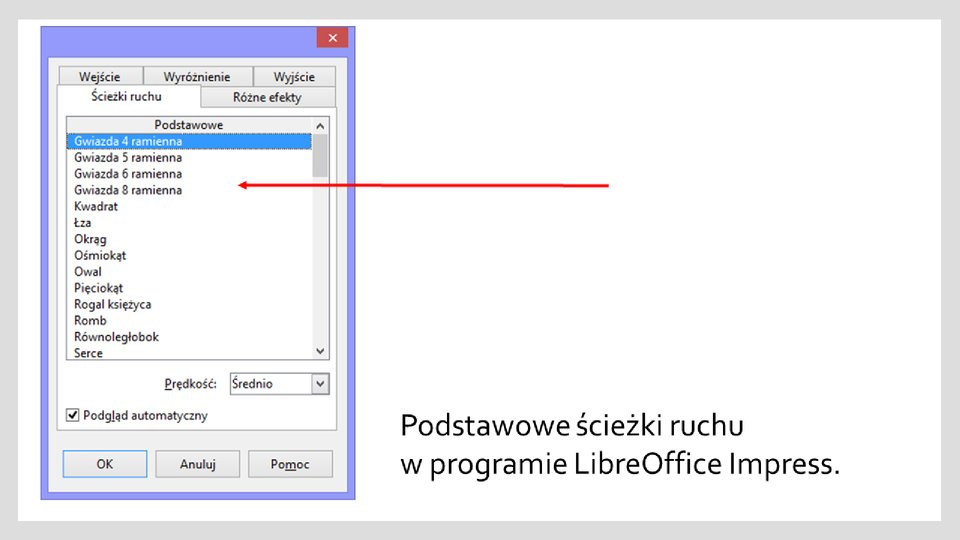 Slajd 1 galerii zrzutów okien zefektami ścieżek ruchu wprogramie LibreOffice Impress