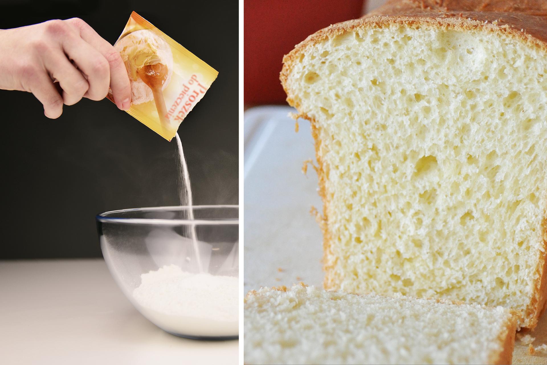 Zdjęcie przedstawiające zlewej strony dłoń wsypującą ztorebki proszek do pieczenia do miski, azprawej strony przekrój wyrośniętego ciasta.