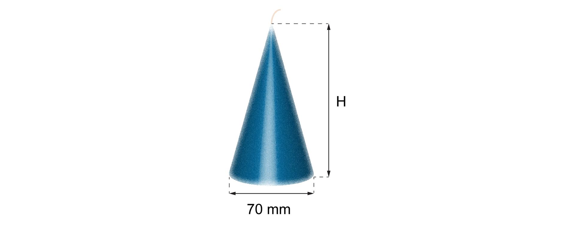 Rysunek stożka owysokości Hiśrednicy podstawy 70 mm.