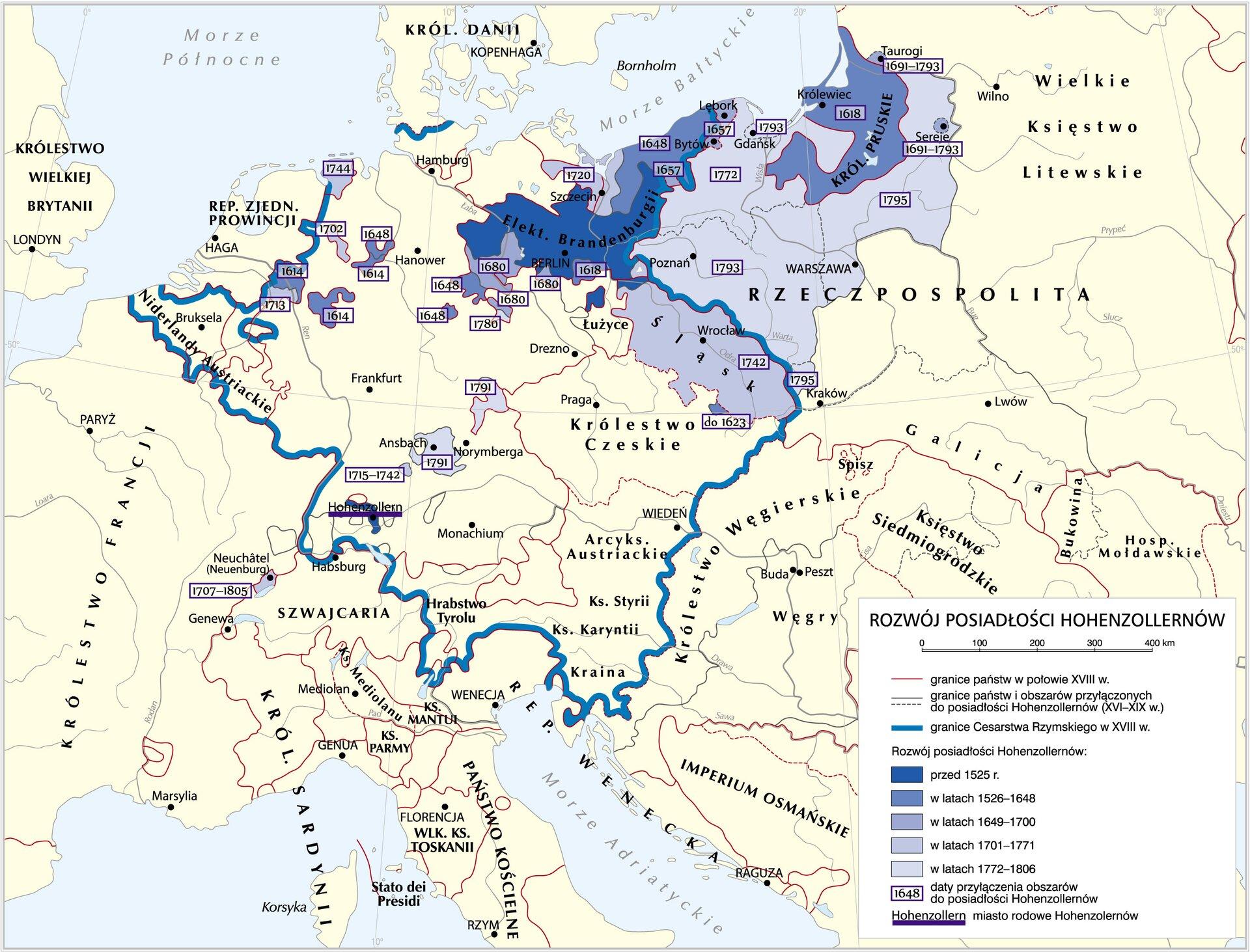 Rozwój posiadłości Hohenzollernów Rozwój posiadłości Hohenzollernów Źródło: Krystian Chariza izespół, licencja: CC BY-SA 3.0.