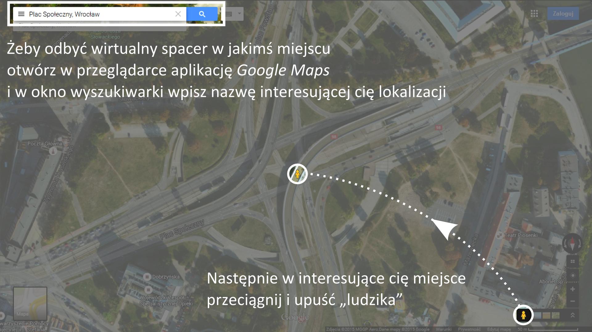 Galeria składa się zdwóch ilustracji.Pierwsza ilustracja przedstawia sposób korzystania zaplikacji internetowej Google Street View.