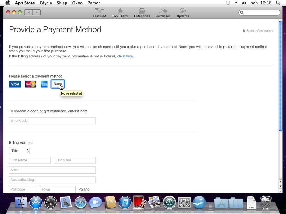 Zrzut okna 2 procesu zakładania konta wApp Store