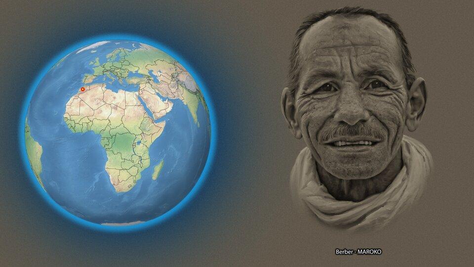Na ilustracji kula ziemska zzaznaczonym czerwonym punktem Maroko. Obok twarz mężczyzny, krótkie włosy, pomarszczona twarz. Podpis - Berber.