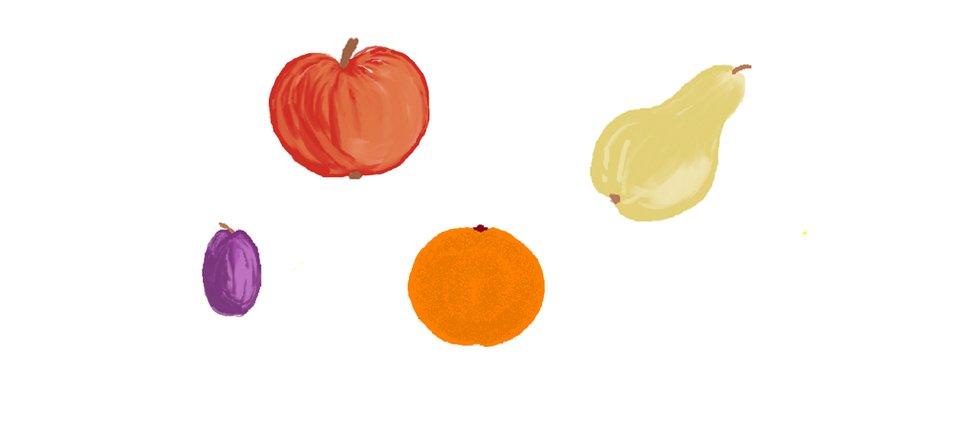 Ilustracja przedstawiająca owoce wypełnione pędzlem
