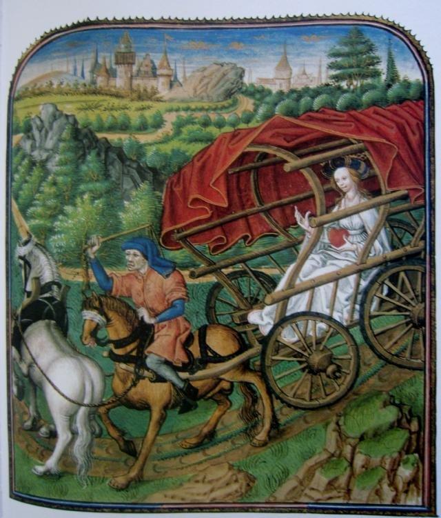 Miniatura zamieszczona wdziele: Rene Andegaweński iprzedstawia sposób podróżowania wśredniowieczu