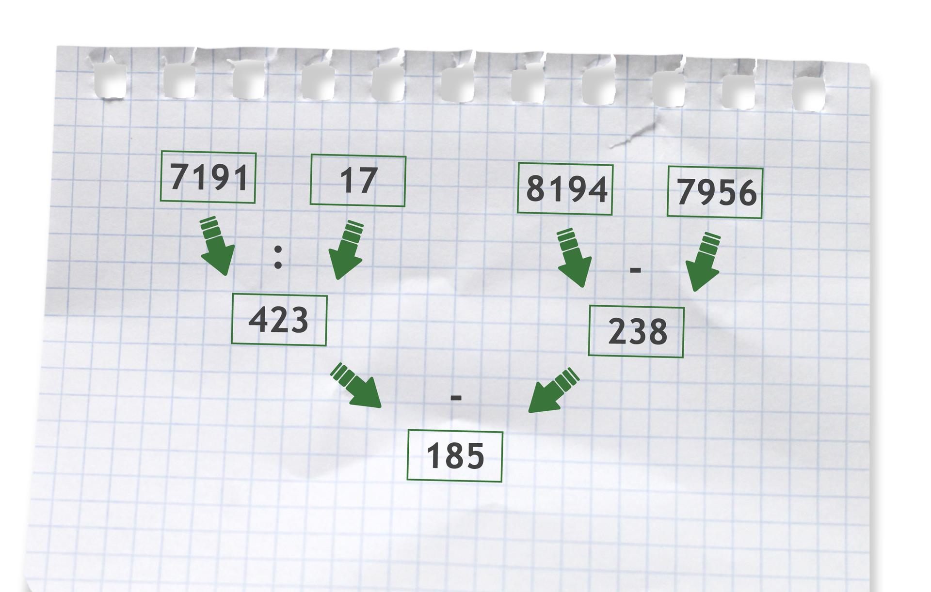 Przykład: (7191 dzielone przez 17) - (8194 - 7956) =423 - 238 =185. Rozwiązanie zadania podpunkt b.