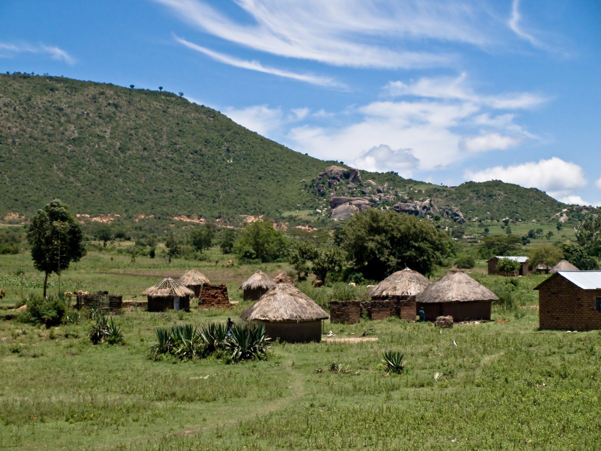 Na zdjęciu afrykańska wioska. Na pierwszym planie okrągłe chatki pokryte słomą, na drugim planie drzewa. Wtle góry.