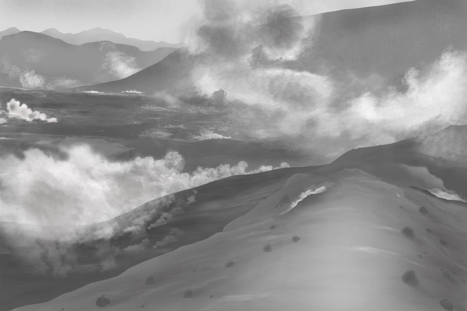 Na czarno-białym zdjęciu teren górzysty. Cały teren spowija gęsty biały iszary dym.