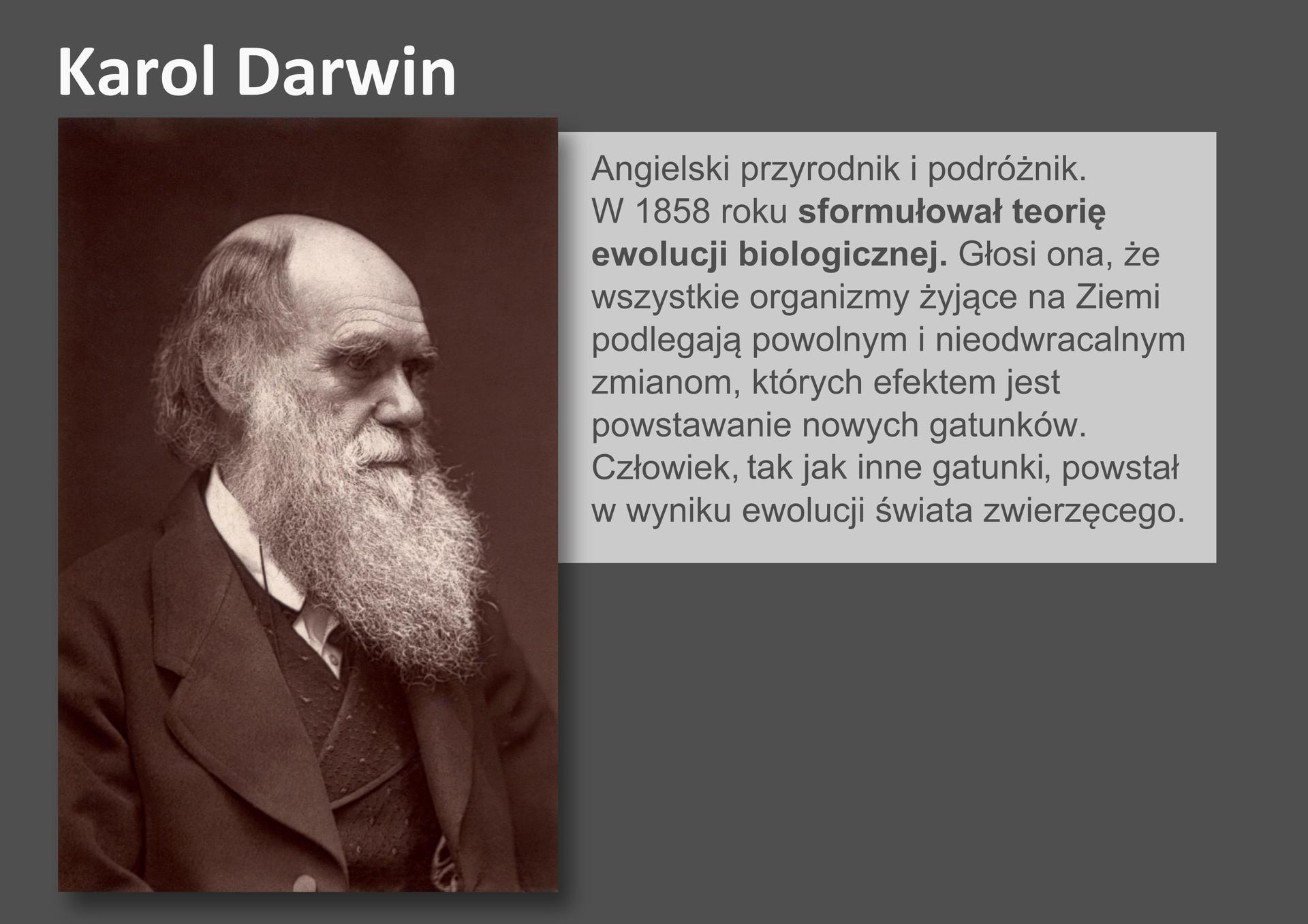 Galeria przedstawia pionierów nauk przyrodniczych. Składa się zdziewięciu slajdów wpostaci ilustracji iumieszczonego obok opisu. Ilustracje pojawiają się kolejno, kiedy klika się wstrzałki, znajdujące się po prawej ilewej stronie ilustracji. Szósty slajd przedstawia czarno – białą fotografię Karola Darwina, angielskiego przyrodnika zdziewiętnastego wieku. Darwin ubrany jest wsurdut, kamizelkę ibiałą koszulę. Na tym zdjęciu ma łysinę, resztki siwych włosów idługą, siwą brodę. W1858 roku Darwin ogłosił teorię ewolucji biologicznej, wktórej znalazł się pogląd, że człowiek tak jak inne gatunki powstał wdrodze ewolucji świata zwierzęcego.