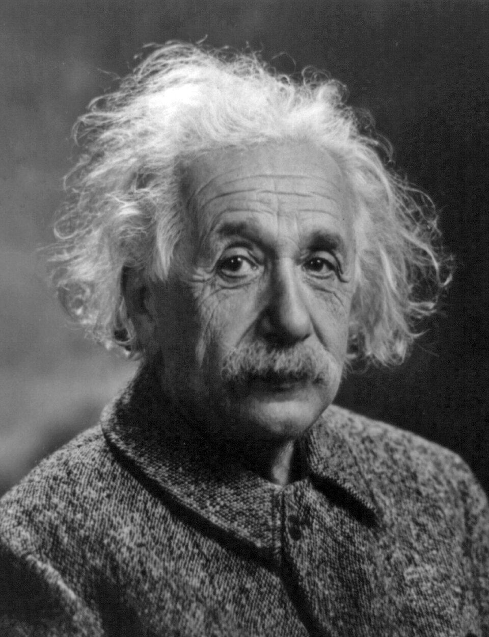 Zdjęcie przedstawia twarz iramiona uczonego Alberta Einsteina. Przeważają czarno białe iszare odcienie. Mężczyzna wwieku około siedemdziesiąt lat. Siwe dłuższe włosy swobodnie opadają ztyłu głowy. Włosy sięgają opuszków uszu. Czoło wysokie pokryte licznymi poziomymi zmarszczkami. Brwi bardzo wyraziste, krzaczaste iczarne. Powieki mocno opadają na oczy. Liczne zmarszczki otaczają oczy. Pod oczami widoczne workowate fałdy skóry. Nos duży iwyrazisty. Nos zaokrąglony na końcu. Duże gęste siwe wąsy. Twarz pokryta licznymi zmarszczkami. Mężczyzna ubrany wciemną marynarkę.