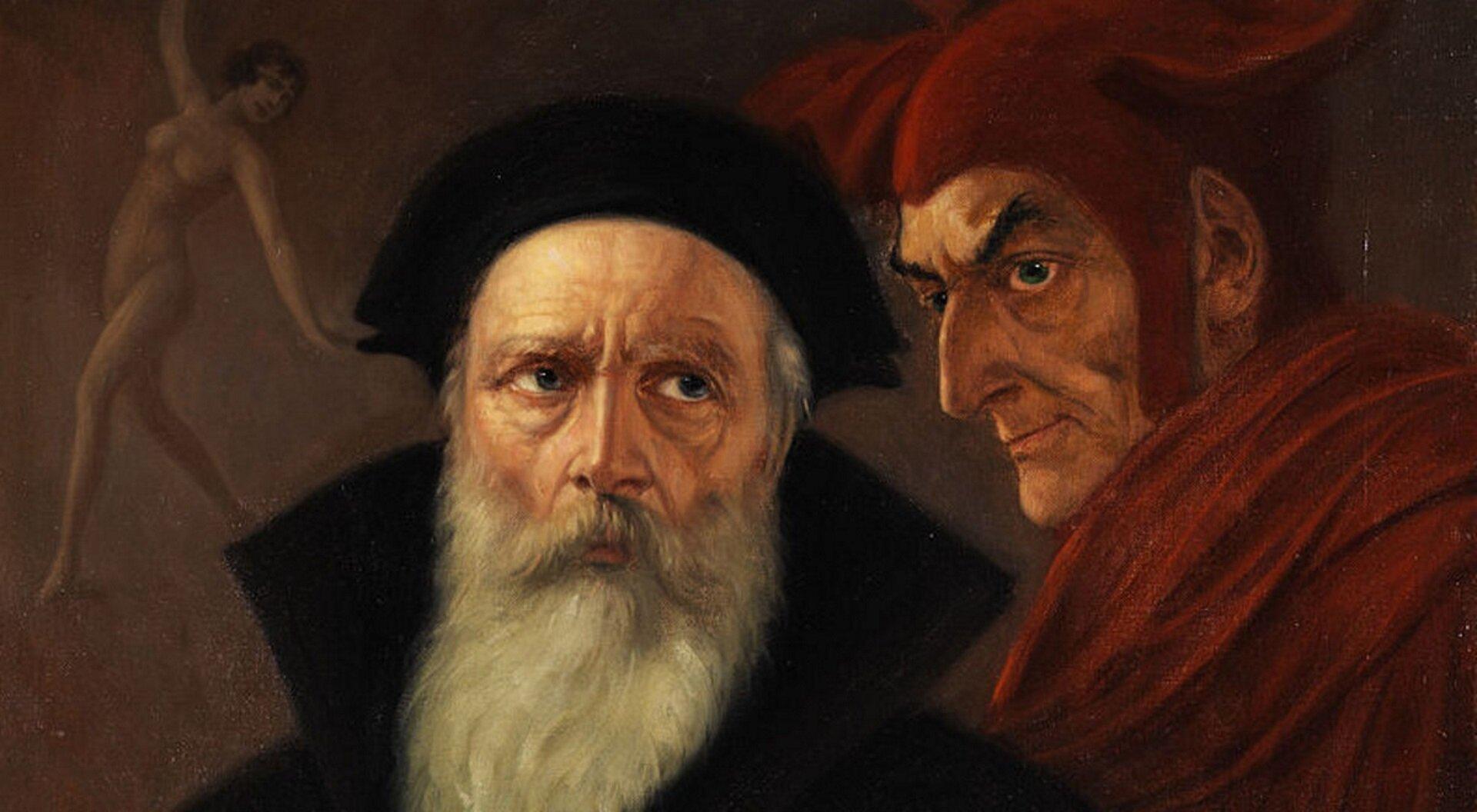 """Ilustracja przedstawia obraz Antona Kaulbacha """"Faust iMefisto"""". Na obrazie widzimy dwóch mężczyzn - Fausta iMefisto. Faust to starszy mężczyzna zdługą, siwą brodą. Ubrany wczarną czapkę oraz płaszcz. Mesfisto to młodszy mężczyzna. Ubrany wczerwone szaty oraz czerwoną czapkę zrogami. Na drugim planie tańczy naga kobieta, ręce uniesione ma ku górze."""