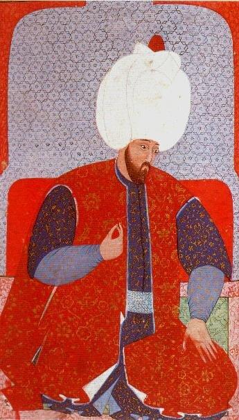 Miniatura przedstawiająca sułtana Sulejmana IWspaniałego jakomłodego mężczyznę. Miniatura przedstawiająca sułtana Sulejmana IWspaniałego jakomłodego mężczyznę. Źródło: Nakkaş Osman, 1579, Topkapı Palace Museum, domena publiczna.