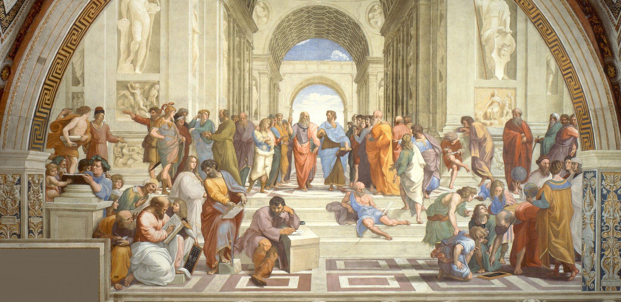 Szkoła Ateńska Źródło: Rafael Santi (Raffaello), Szkoła Ateńska, 1509–1511, fresk, Pałac Apostolski wWatykanie, domena publiczna.