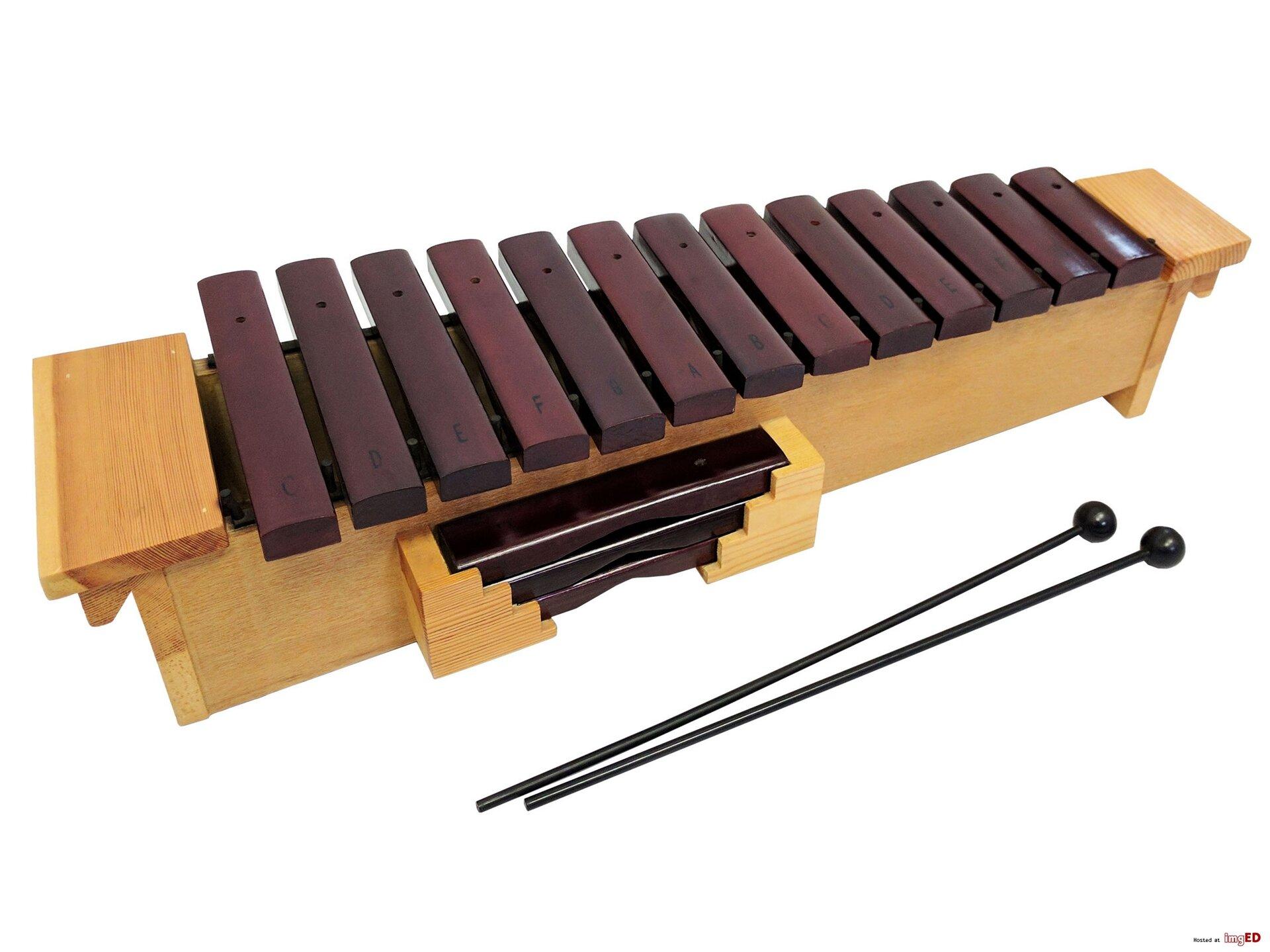 Ilustracja przedstawia ksylofon to instrument perkusyjny klasyczny, który jest podstawowym narzędziem edukacji każdego młodego muzyka wybierającego naukę wklasie perkusji. Dość prosty wbudowie iprzypominający nieco duże cymbałki lub dzwonki szkolne, jest wbrew pozorom skomplikowanym iprecyzyjnym instrumentem. Wykonany jest zawsze zwybranego gatunku egzotycznego drewna,