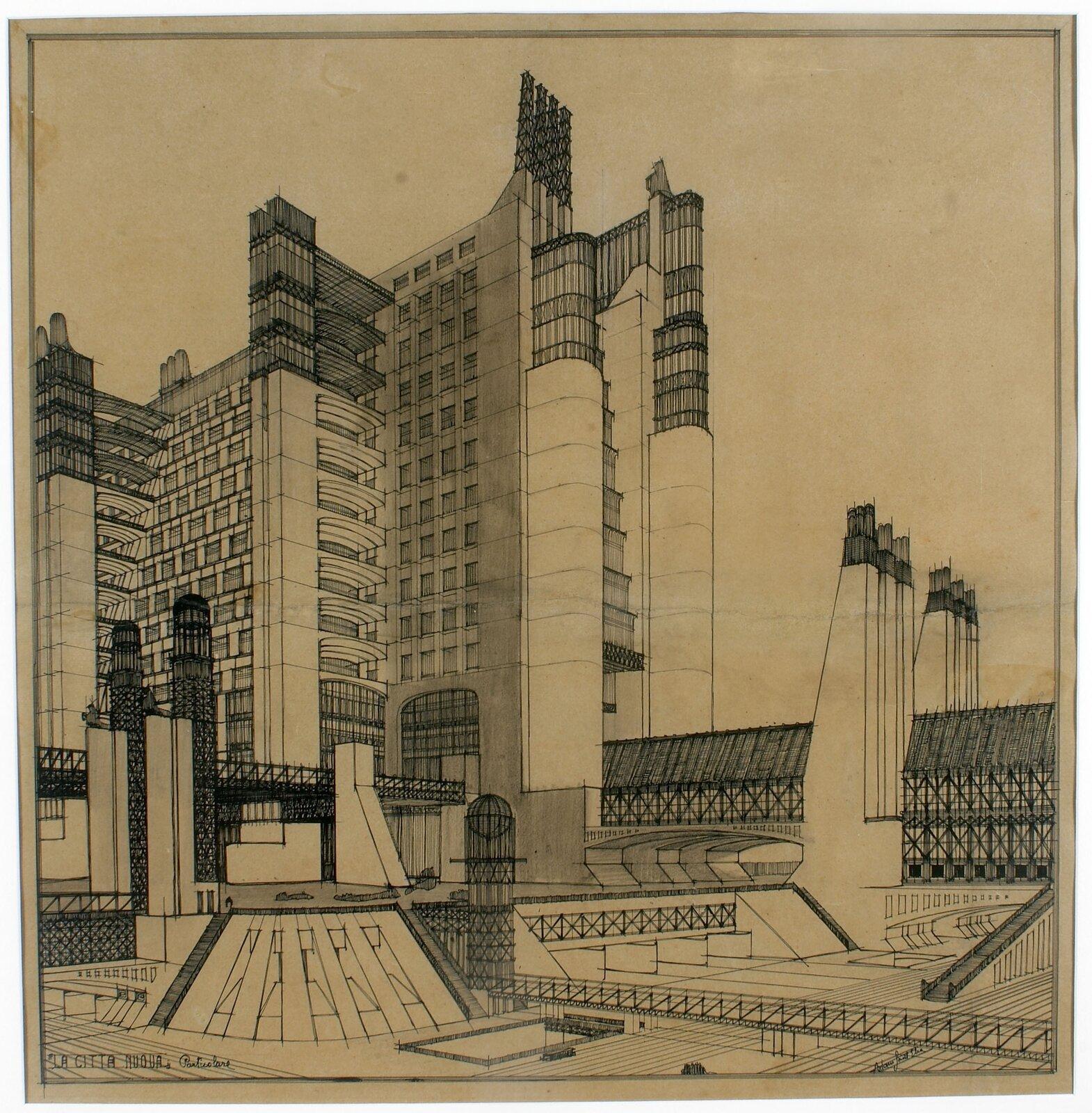 Przykład architektury futurystycznej, projekt Antonia Sant'Elii Źródło: TintoMeches, Przykład architektury futurystycznej, projekt Antonia Sant'Elii , licencja: CC 0.