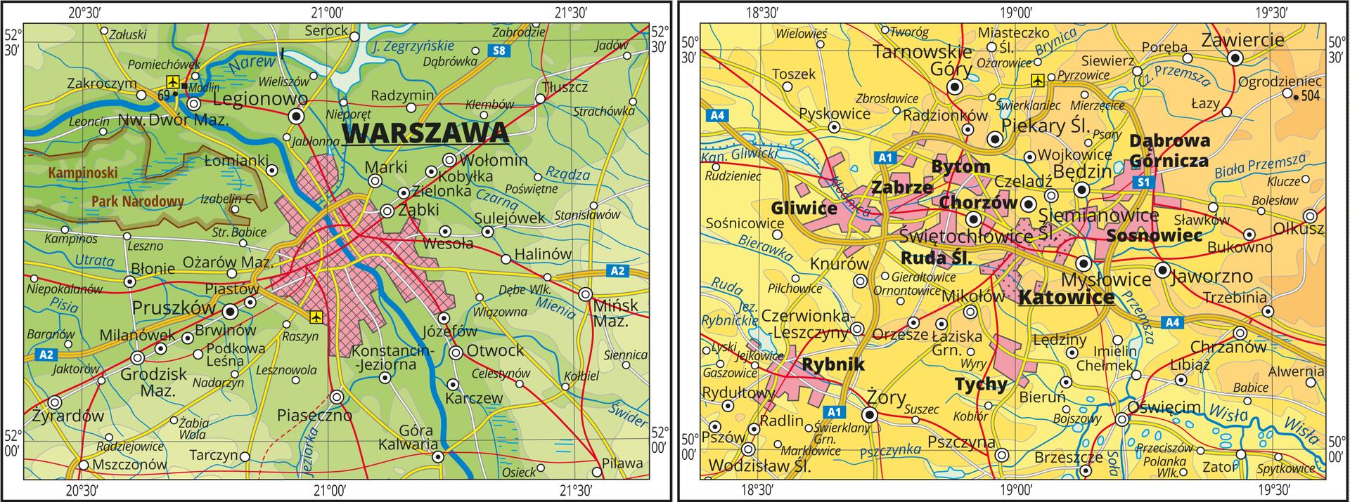 Ilustracja przedstawia dwa fragmenty mapy hipsometrycznej Polski po lewej stronie zcentralnie umieszczoną wśrodku mapy Warszawą. Mapa przedstawia aglomerację warszawską zwyraźnie dominującym ośrodkiem centralnym. Warszawa przedstawiona jest wformie rozległej sygnatury. Dookoła kropkami zaznaczono pozostałe miasta. Po prawej stronie wcentrum mapy aglomeracja policentryczna złożona zkilku równorzędnych miast położonych blisko siebie. Miasta połączone rozbudowaną sieci komunikacyjną. Na mapie między innymi: Gliwice, Zabrze, Chorzów, Bytom, Ruda Śląska, Katowice, Sosnowiec, Dąbrowa Górnicza.