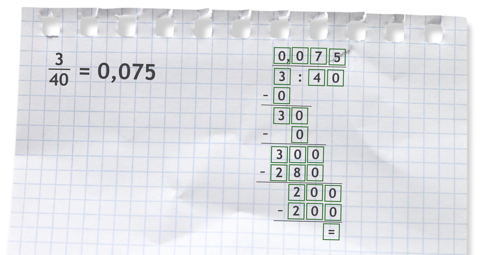 Przykład: trzy czterdzieste = 0,075 bo 3 dzielone przez 40 =0,075.