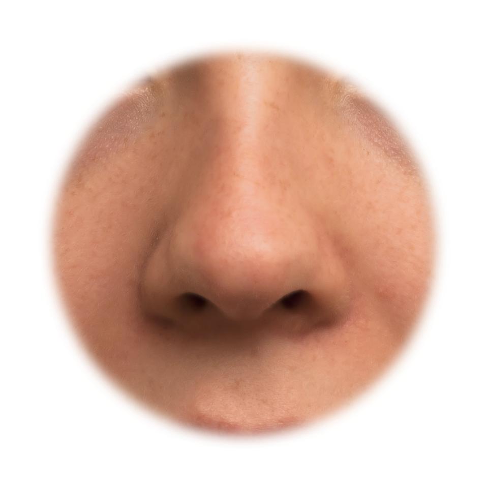 Fotografia przedstawia zbliżenie ludzkiego nosa. Dzięki temu narządowi zmysłu człowiek potrafi odróżnić nawet do 10 000 zapachów.