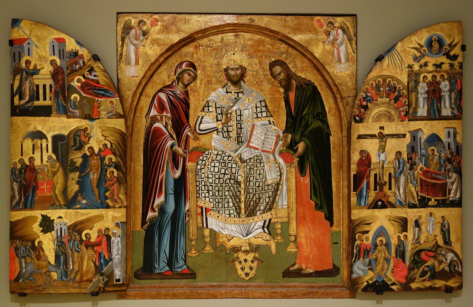 Deesis zdwunastoma wielkimi świętami Kościoła Źródło: Deesis zdwunastoma wielkimi świętami Kościoła, 1540-1549, Chazen Museum of Art, licencja: CC 0 1.0.