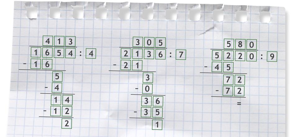 """""""Przykłady dzielenia sposobem pisemnym: 1654 dzielone przez 4 =413 r2"""