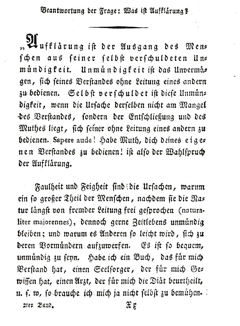 Karta zrozprawy Immanuela Kanta Co to jest Oświecenie? Karta zrozprawy Immanuela Kanta Co to jest Oświecenie? Źródło: domena publiczna.