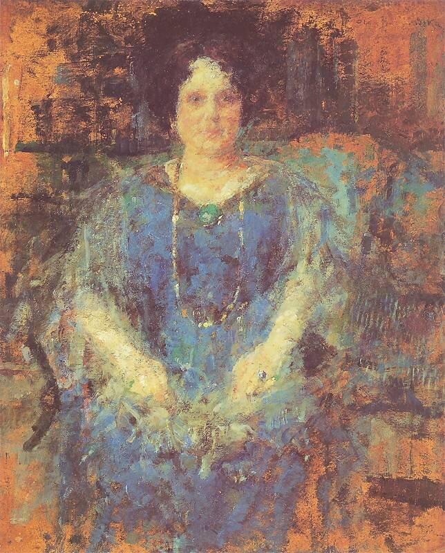 Portret kobiety Źródło: Olga Boznańska, Portret kobiety, 1926, olej na tekturze, domena publiczna.