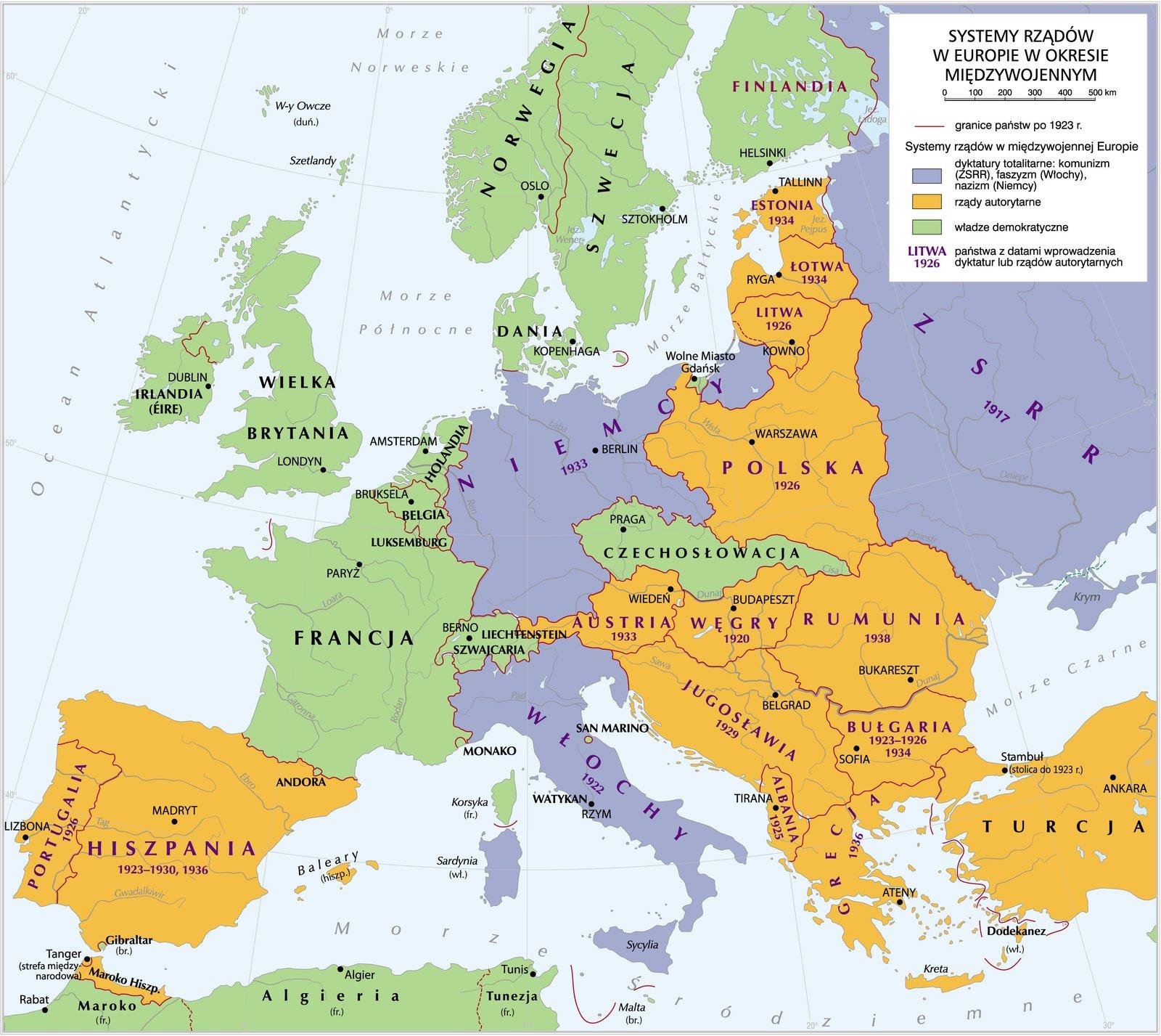 Systemy rządów wmiędzywojennej Europie Systemy rządów wmiędzywojennej Europie Źródło: Krystian Chariza izespół, licencja: CC BY 3.0.