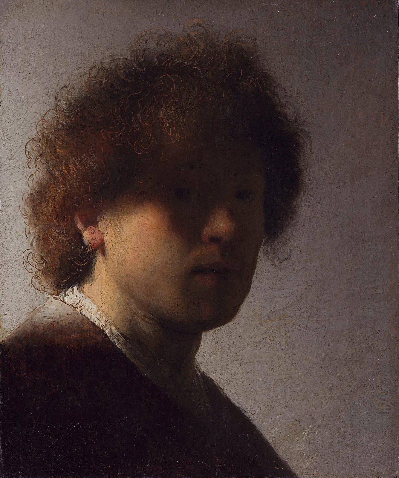 """Ilustracja przedstawia """"Autoportret"""" Rembrandta określany jako zzacienioną twarzą. Ukazuje młodego mężczyznę zlokowanymi, brązowymi włosami. Światło pada zlewej strony, rozjaśniając część twarzy artysty. Prawa strona jest ukryta wcieniu. Malarz zadbał odetale – szczegółowo oddał loki na głowie. Jednolite tło, utrzymane wszarościach kontrastuje zpostacią ieksponuje twarz."""