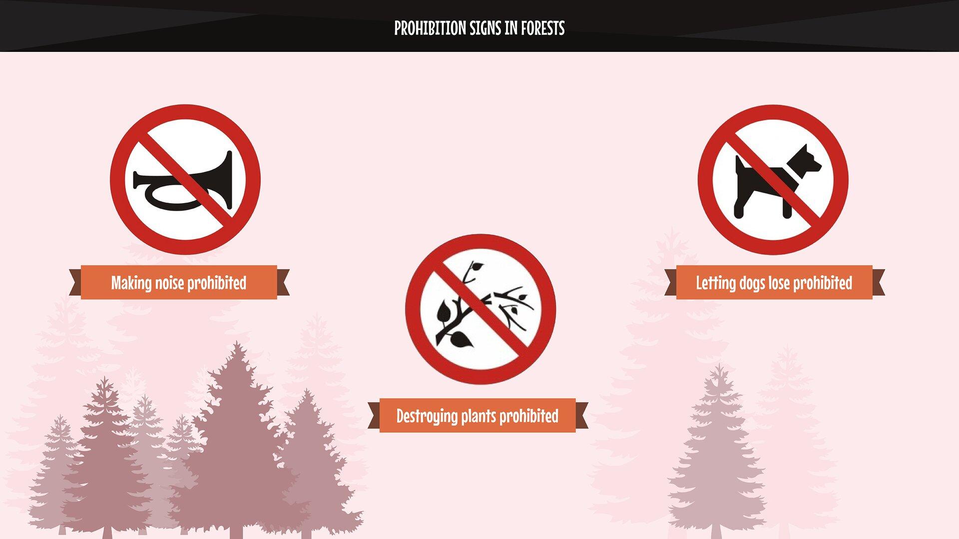 The photo presents pictograms: making noise prohibited, destroying plants prohibited, letting dogs loose prohibited. Zdjęcie przedstawia piktogramy: zakaz hałasowania, zakaz niszczenia roślin, zakaz puszczania psów luzem.
