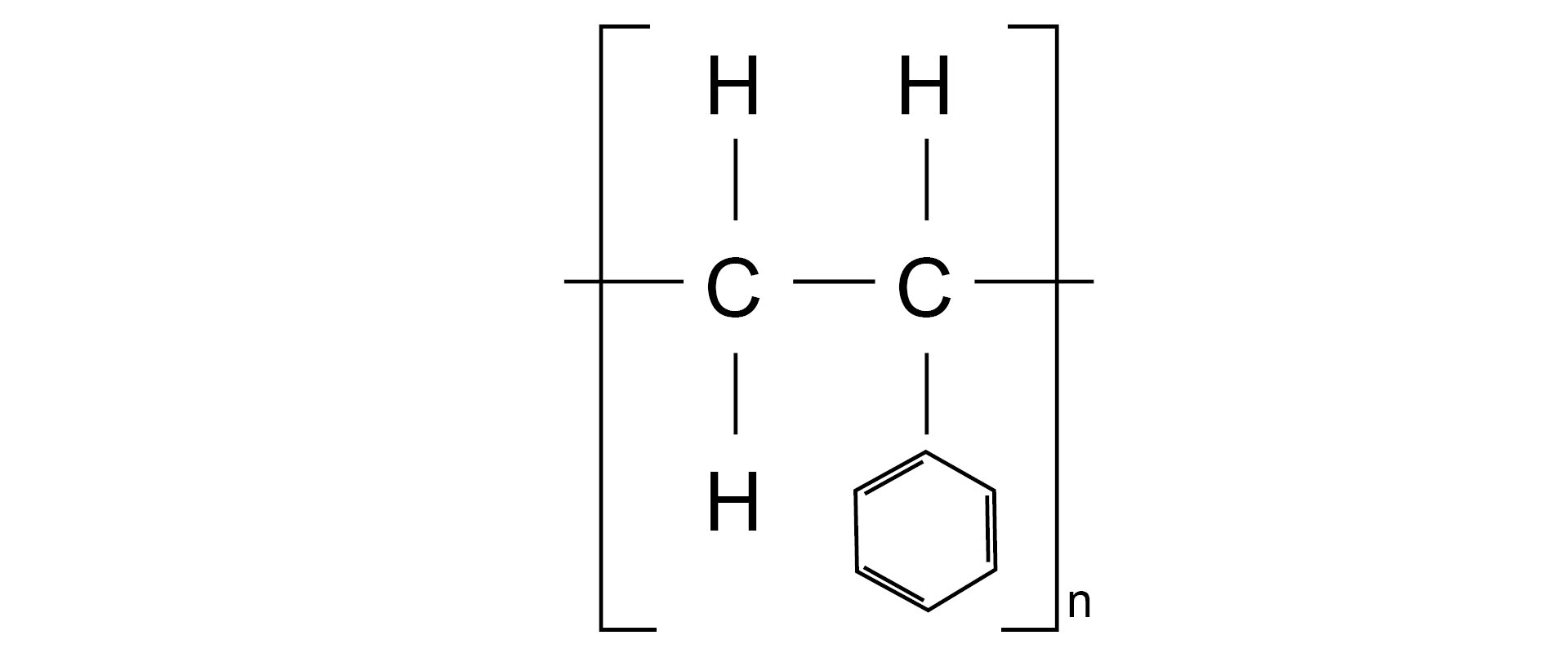 Ilustracja pokazuje wzór strukturalny polistyrenu.