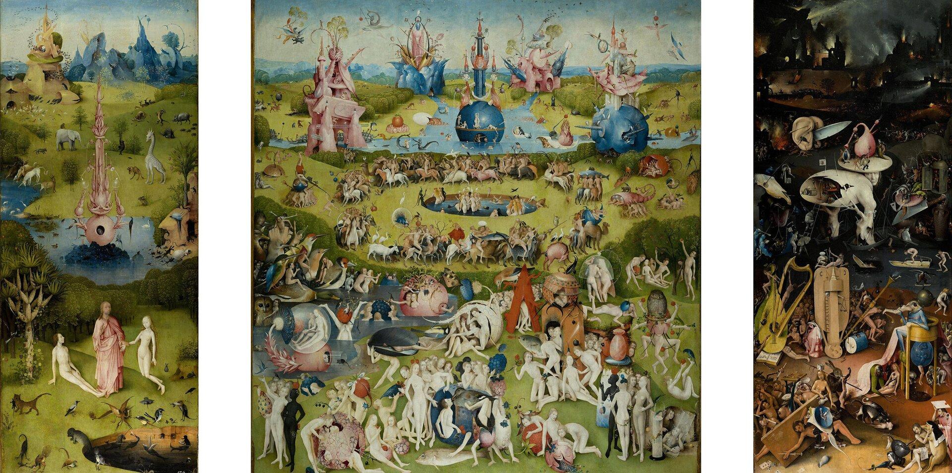 Ogród rozkoszy ziemskich Źródło: Hieronim Bosch, Ogród rozkoszy ziemskich, ok. 1500, olej na desce, Prado, Madryt, domena publiczna.