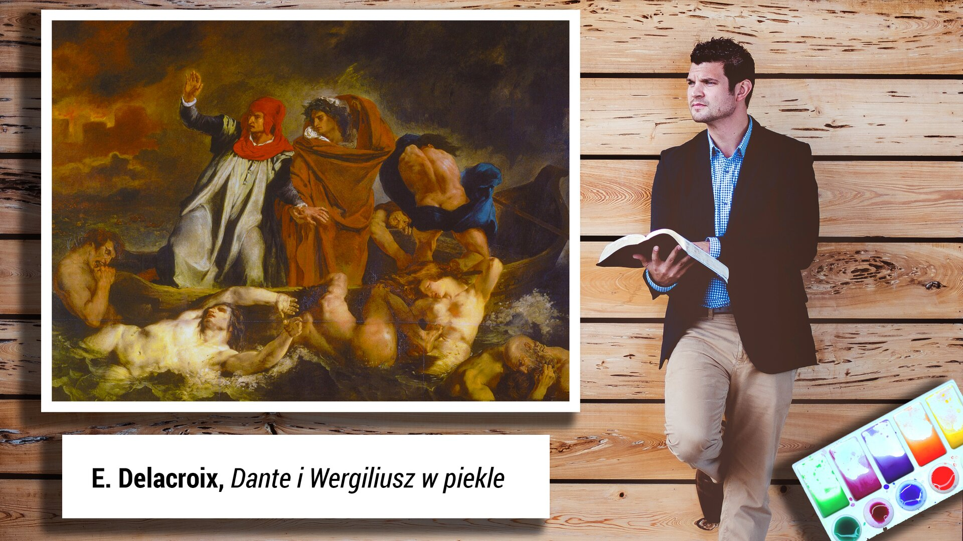 """Ilustrację możemy podzielić na dwa elementy. Pierwszym elementem jest obraz Eugène`a Delacroix pt. """"Dante iWergiliusz wpiekle"""", nazywany także """"Barka Dantego"""". Artysta przedstawił scenę znaną zÓsmej Pieśni Piekła, stanowiącą część """"Boskiej komedii"""" Dantego Alighieri. Przez wzburzone wody Styksu niewielką łodzią prowadzoną przez Flegiasa przeprawiają się Dante ijego przewodnik, Wergiliusz. Scena jest bardzo dynamiczna, niewielka łódź unosi się na wzburzonych wodach wśród kłębiących się ciał potępieńców. Wieje silny wiatr, woddali widać płonące miasto, niebo jest ołowiane, ahoryzont spowity dymem. Odziany wstalową opończę zczerwonym kapturem, Dante zniepokojem unosi prawą rękę, podtrzymuje go ubrany wbrązową szatę spokojny Wergiliusz. Po prawej stronie natomiast znajduje się mężczyzna ubrany elegancko. Ma na sobie koszulę imarynarkę. Wręku trzyma otwartą książkę. Jest zamyślony. Wprawym dolnym rogu ilustracji widać farby wpięciu kolorach."""