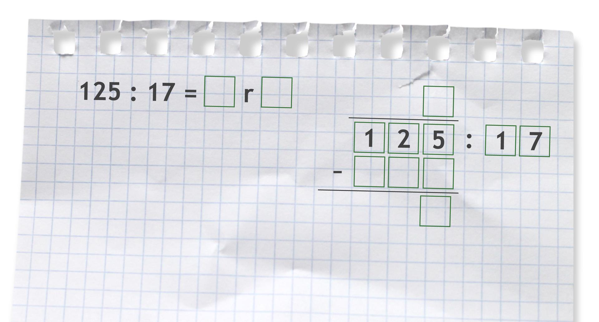 Miejsce do wykonania dzielenia zresztą: 125 dzielone przez 17.