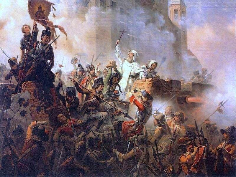 obraz przedstawia grupę ludzi ijest symbolicznym przedstawieniem obrony Jasnej Góry w1655 roku