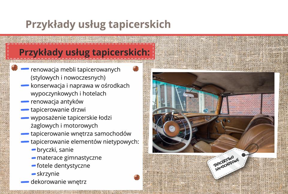 Grafika opisuje przykłady usług tapicerskich.