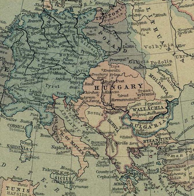 Atlas historyczny Węgry w1360 roku. Kolorem różowym zaznaczono Królestwo Węgier, apaskami biało-różowymi - tereny zależne. Źródło: William R. Shepherd, Atlas historyczny, 1926, domena publiczna.