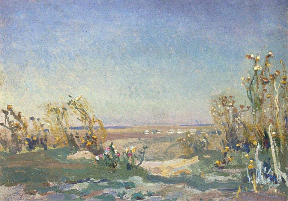 Bodiaki Źródło: Jan Stanisławski, Bodiaki, olej na desce, Lwowska Galeria Sztuki, domena publiczna.