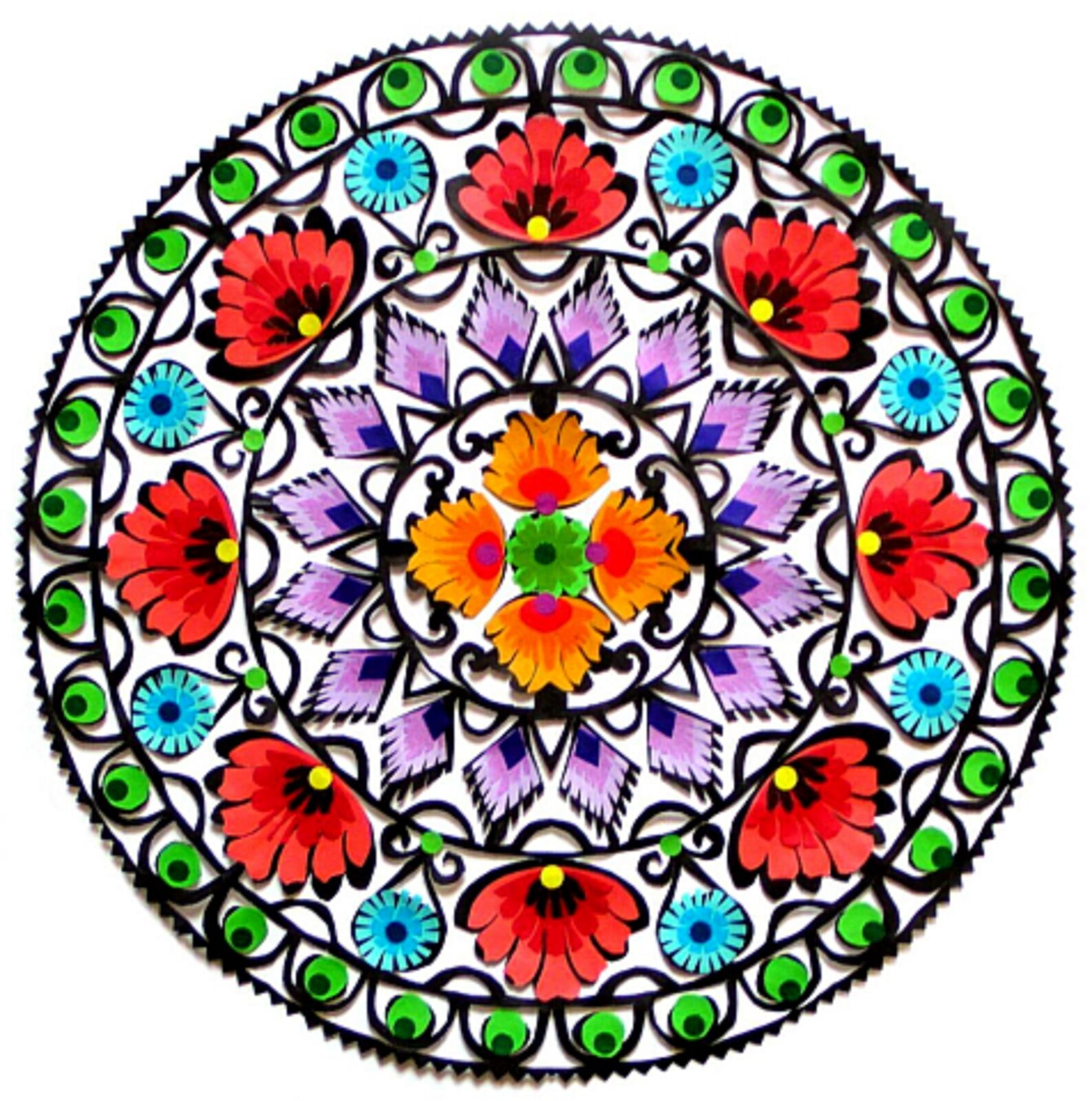 Ilustracja przedstawia łowicką gwiazdę. Jest to serwetka zbudowana ztrzech pierścieni ikole wśrodku. Zewnętrzny pierścień to zielone pawie oczka. Kolejny ma na przemian duże, czerwone imniejsze niebieskie kwiaty. Trzeci pierścień składa się zfioletowych listków. Środek to zielony kwiatek, dokoła którego ułożone są cztery żółto-czerwone kwiaty. Pierścienie wydzielone są czarną, cienką linią.