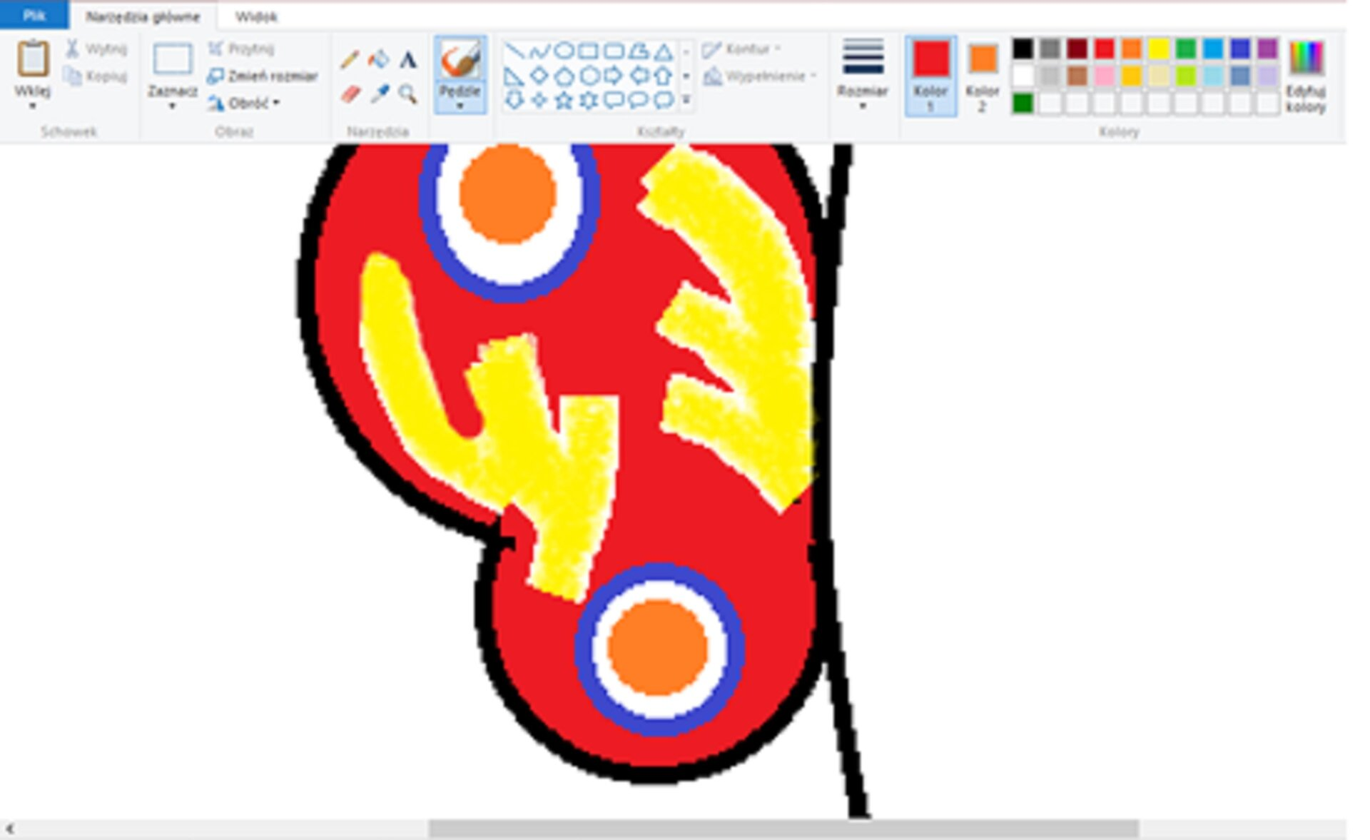 Zrzut okna programu Paint zilustracją powiększonego fragmentu motyla
