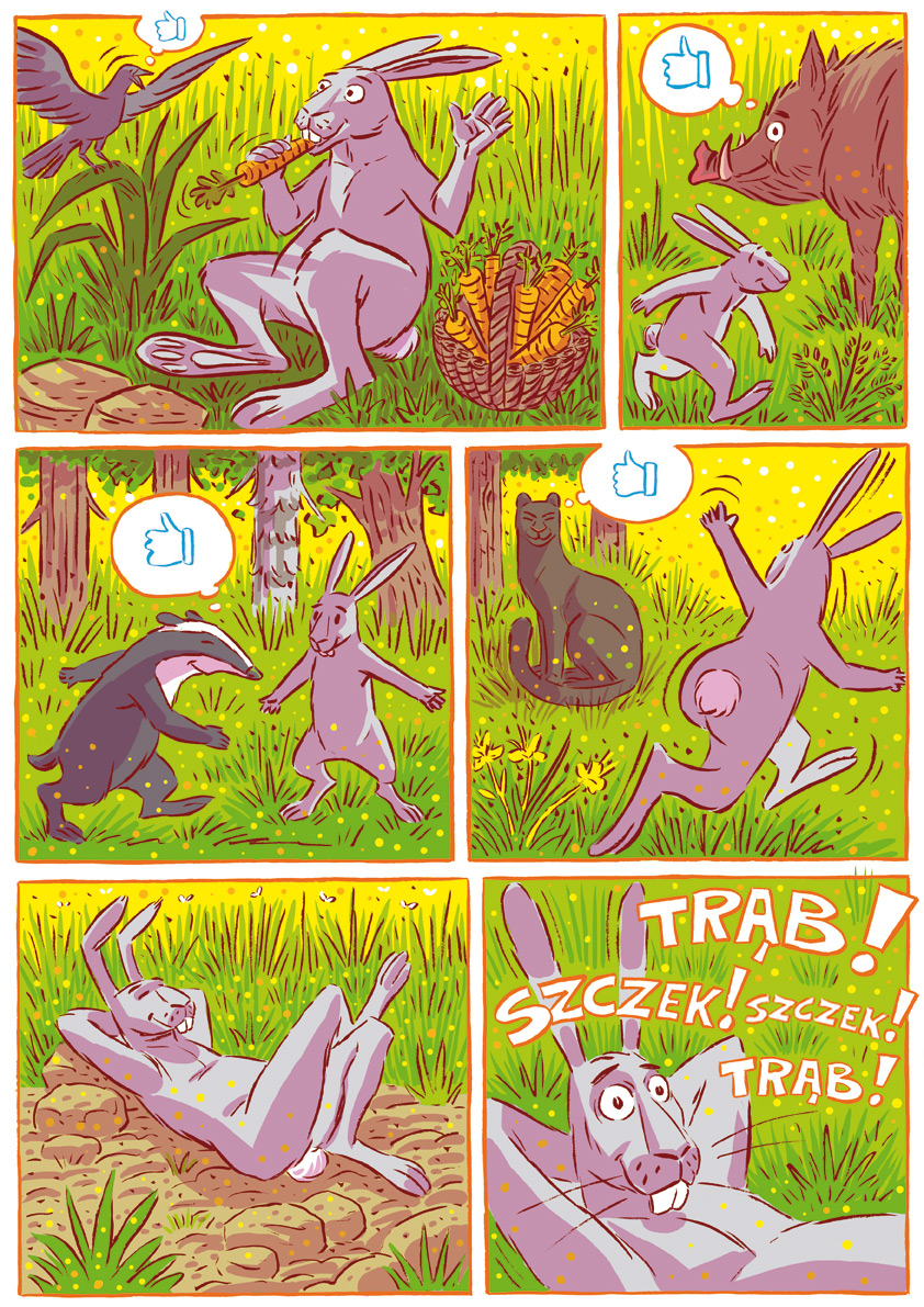 Komiks - Krasicki, Przyjaciele1 Źródło: Uniwersytet Wrocławski, licencja: CC BY 3.0.