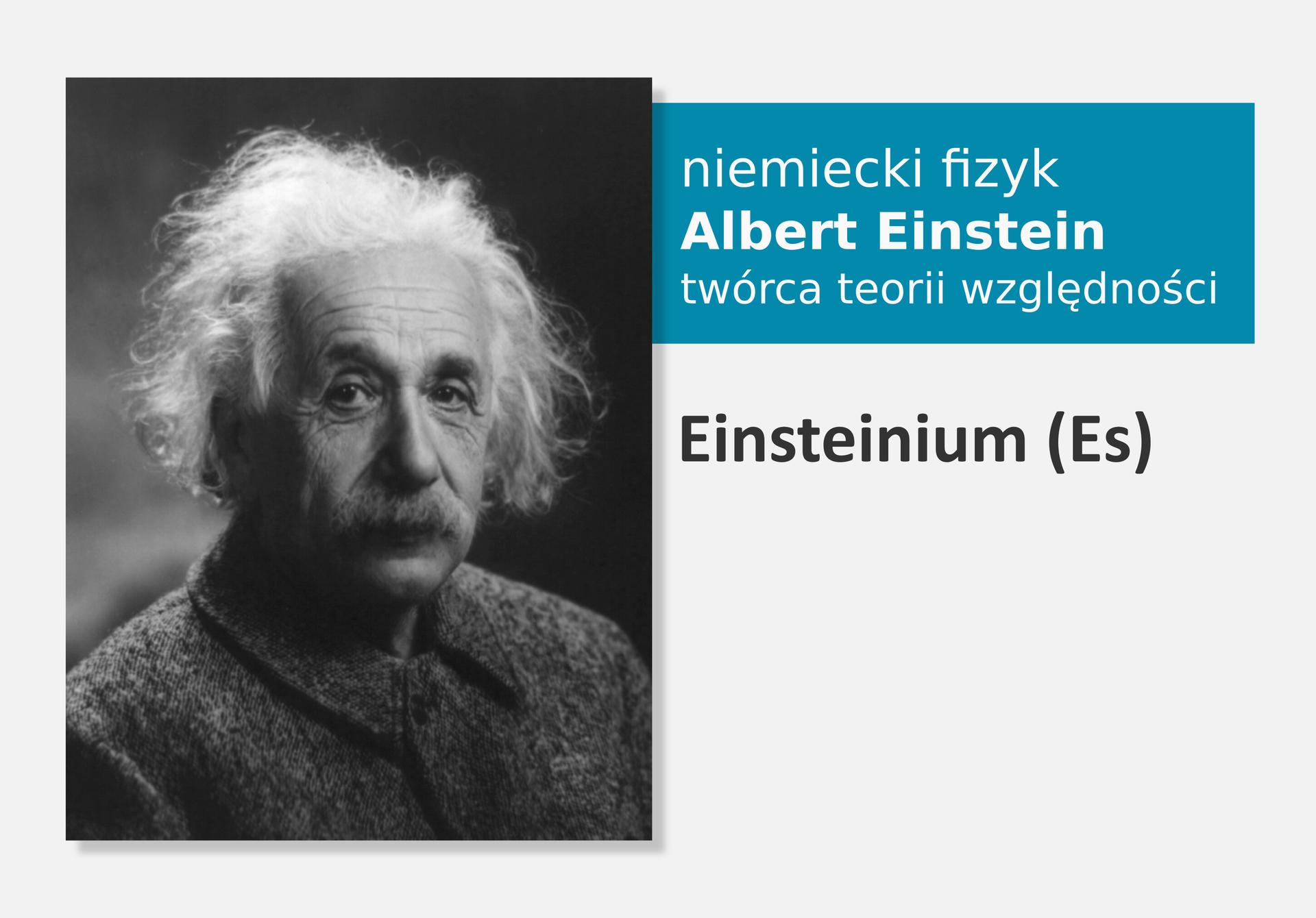 Fotografia niemieckiego fizyka Alberta Einsteina, obok nazwa isymbol pierwiastka Einsteinum (Es)