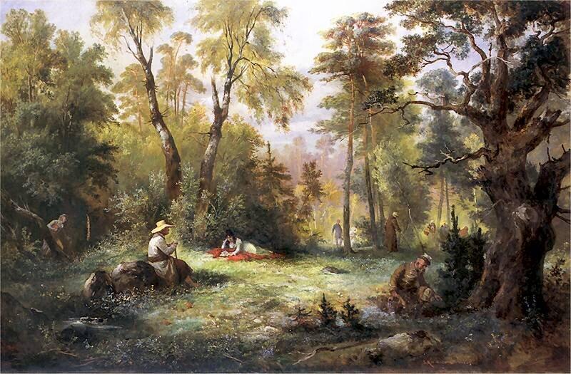 Grzybobranie Ilustracja do III księgi Pana Tadeusza. Źródło: Franciszek Kostrzewski, Grzybobranie, 1860, domena publiczna.