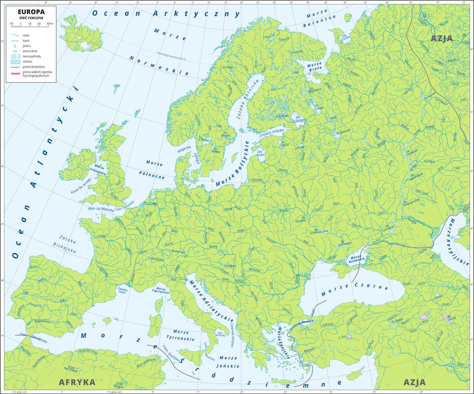 Ilustracja przedstawia mapę konturową Europy zsiecią rzeczną. Opisano rzeki, jeziora morza ioceany. Mapa zawiera południki irównoleżniki, dookoła mapy wbiałej ramce opisano współrzędne geograficzne co pięć stopni.