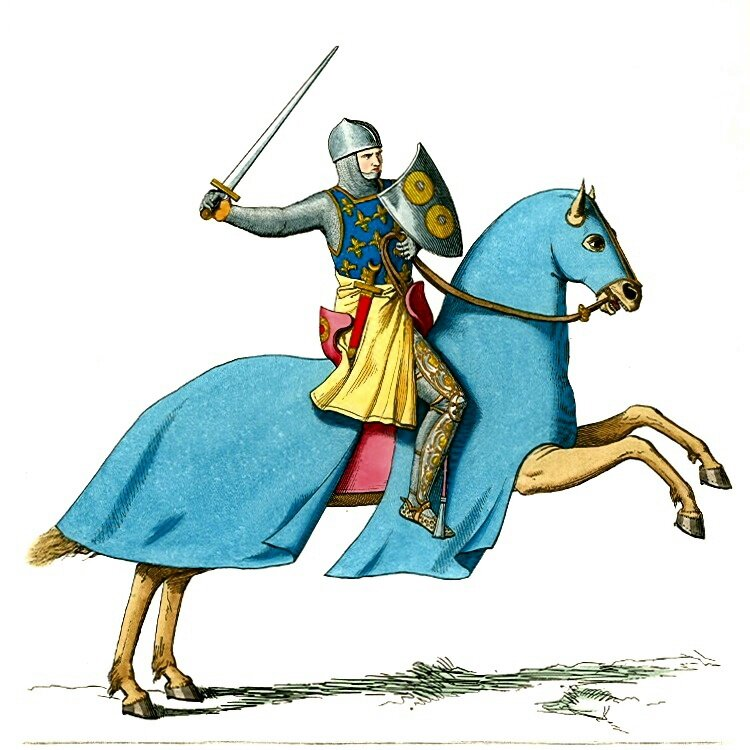Rycerz na koniu Źródło: Paul Mercuri, Rycerz na koniu, 1861, rysunek, domena publiczna.
